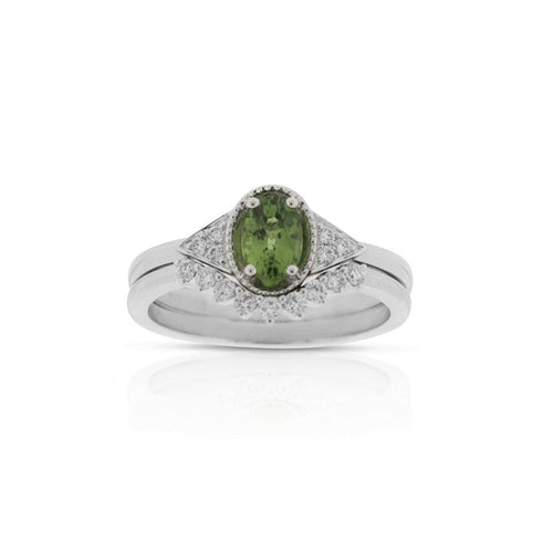 18ct White Gold Petra Green Sapphire Diamond Ring