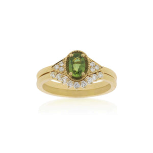 18ct Yellow Gold Petra Green Sapphire Diamond Ring