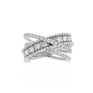 18ct White Gold Diamond Twist Dress Ring