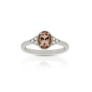 18ct White Gold Petra Morganite Diamond Ring