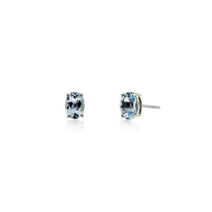 9ct White Gold Aquamarine Stud Earrings (Oval)