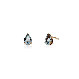 9ct Rose Gold Aquamarine Stud Earrings (Pear)