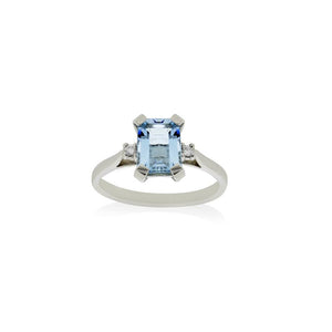 18ct White Gold Aquamarine Diamond Ring 1AQ=1.26