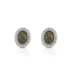 18ct White Gold Opal Diamond Earrings