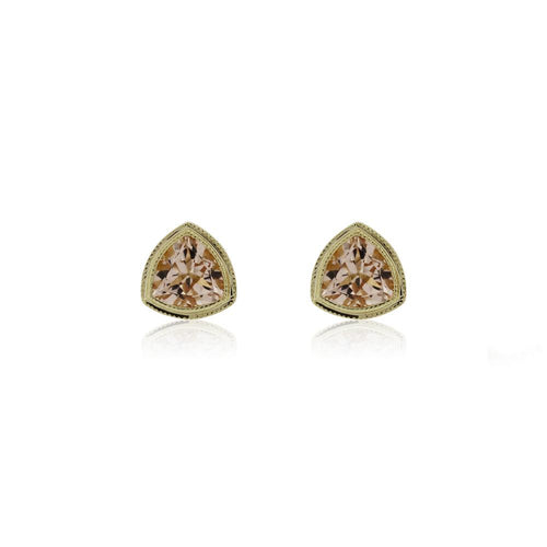 9ct Gold Trinity Stud Earrings - Morganite