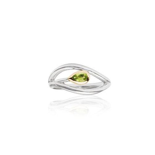 Eternity Leaf Ring Silver, 9ct Rose Gold & Peridot