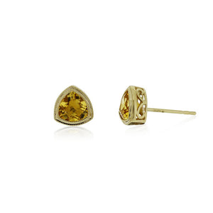 9ct Gold Trinity Stud Earrings - Citrine
