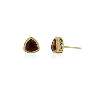 9ct Gold Trinity Stud Earrings - Garnet