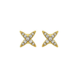 Gold Plated Four Point Star Earrings