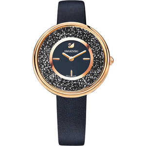 Crystalline Pure Black & Rose Gold Watch