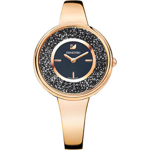 Crystalline Pure Black & Rose Gold Bracelet Style Watch