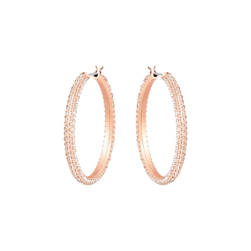 Stone Silk 18ct Rose Gold Plated Hoops