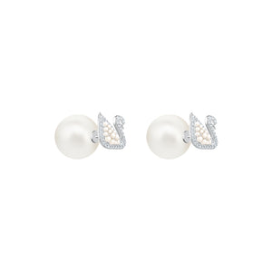 Iconic Swan Pearl Stud Earrings