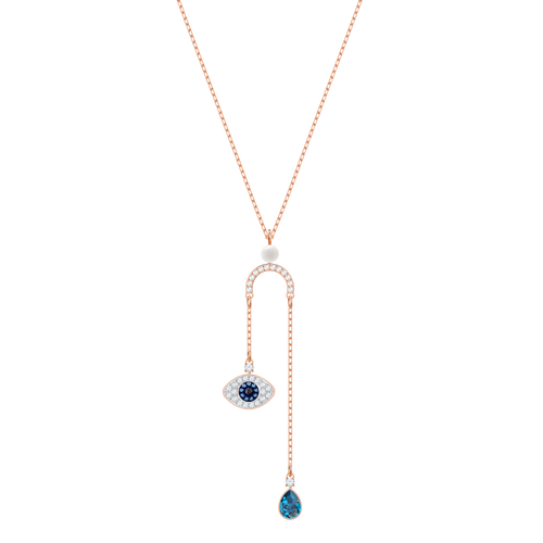Duo Evil Eye Y Rose Gold Necklace