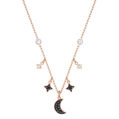 Duo Moon Black Rose Gold Necklace