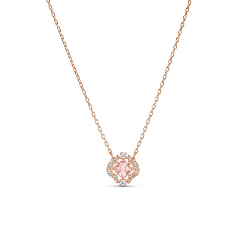 Sparkling Dance Necklace Pink Rose-Gold Tone Plated