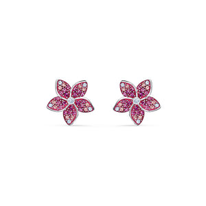 Tropical Flower Pierced Earrings Pink Rhodium Plated