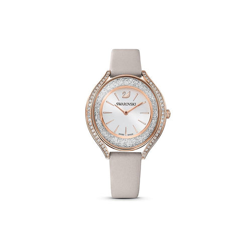 Crystalline Aura Watch, Leather strap, Grey, Rose-gold tone PVD