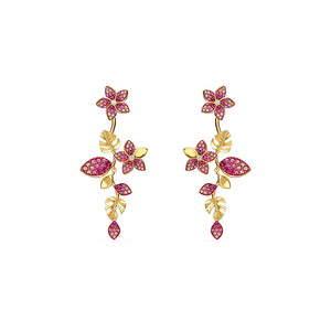 Tropical Flower Pierced Earrings Pink Gold-Tone Plated