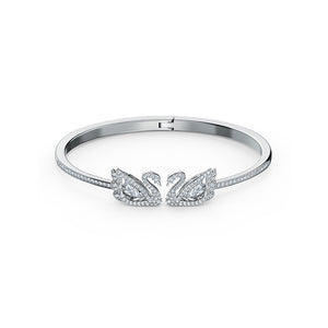Dancing Swan Bangle, White, Rhodium plated