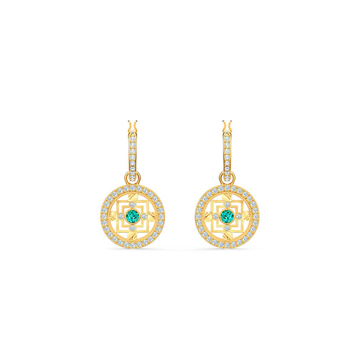Symbolic Mandala Hoop Pierced Earrings Green Gold-Tone Plated