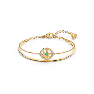 Symbolic Mandala Bangle Green Gold-Tone Plated