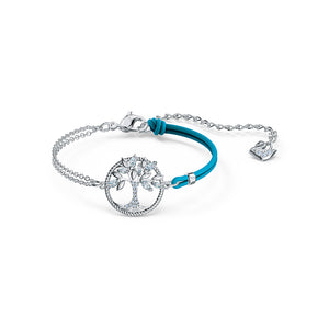 Symbolic Tree Of Life Bracelet Blue Rhodium Plated