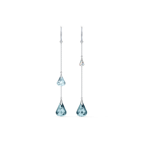 Spirit Hoop Pierced Earrings Aqua Rhodium Plated