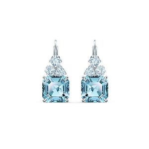 Sparkling Pierced Earrings, Aqua, Rhodium plated