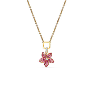 Tropical Flower Pendant Pink Gold-Tone Plated