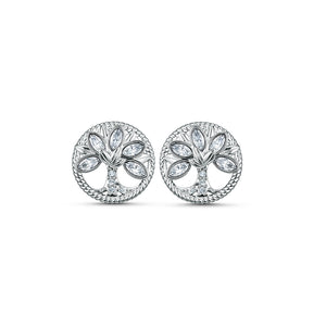 Symbolic Tree Of Life Stud Pierced Earrings