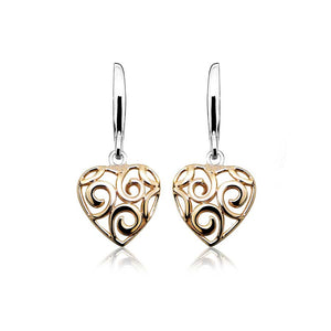 Silver and Rose Gold Plated Heart with Spirals Earrings