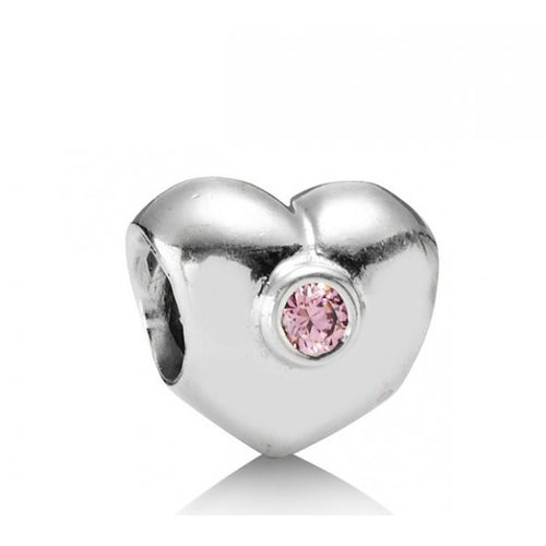 Pink Sparkling Heart Charm