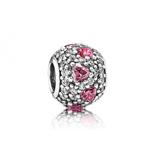 Pink Heart Pave Ball Charm