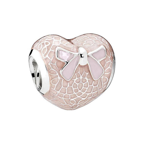 Pink Lace And Bow Charm