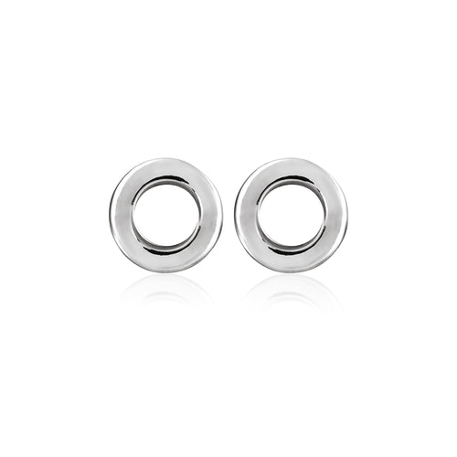Silver Thick Circle Studs