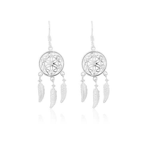 Silver Dreamcatcher with Cubic Zirconia Earrings
