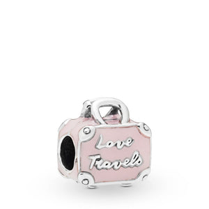 Pink Suitcase Silver Charm