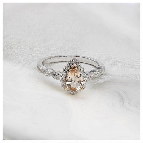 18ct White Gold Violet Morganite Diamond Ring