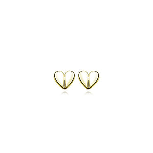 9ct Gold Petite Heart Stud Earrings