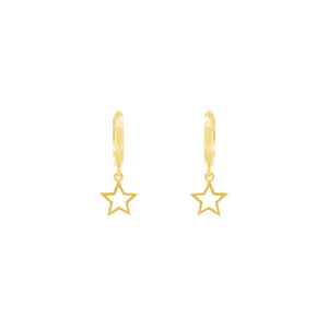 Gold Plated Star Bright Huggie Earrings