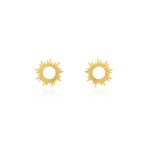 Gold Plated Sunray Stud Earring