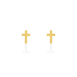 Gold Plated Mini Cross Stud Earring