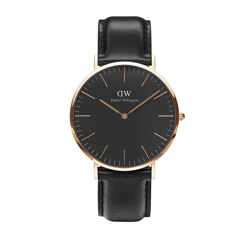 Classic 40mm Reading Rose Gold Black Watch