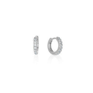 Sterling Silver Estrella Cz Huggie Earrings