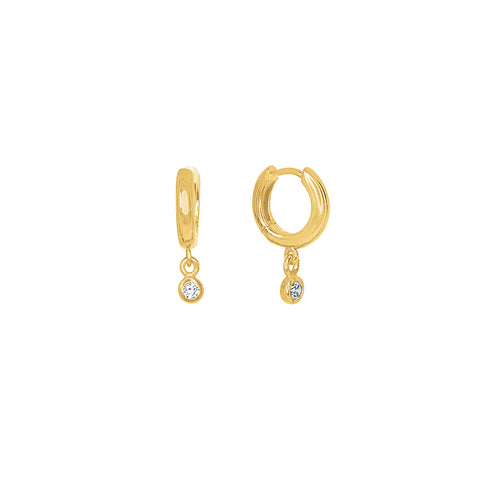 Gold Plated Maia Cz Huggie Drop Earrings