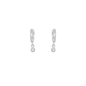 Sterling Silver Maia Cz Huggie Drop Earrings