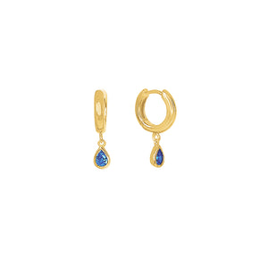 Gold Plated Lexi Huggie Earrings - Blue