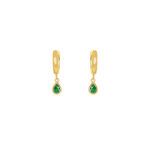 Gold Plated Lexi Huggie Earrings - Green