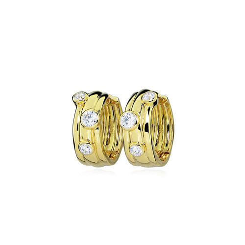 Gold Plated Massimo Cubic Zirconia Hoop Earrings